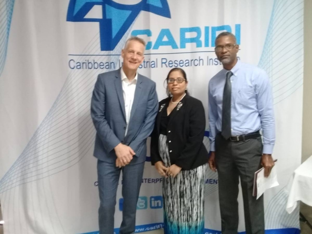 Danish Technological Institute director for ideas and innovation, Knud Erik Hilding-Hamann stands with Cariri business development officer Melissa Bissoondath and Ideas Advisory Service (IAS) project chief Hayden Charles